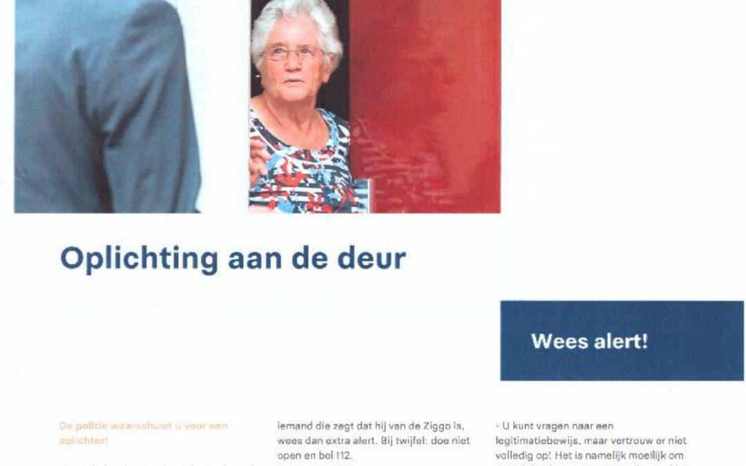 Politie waarschuwt bewoners Veldhuizen voor oplichting aan de deur